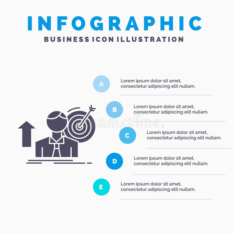 success, user, target, achieve, Growth Infographics Template for Website and Presentation. GLyph Gray icon with Blue infographic vector illustration