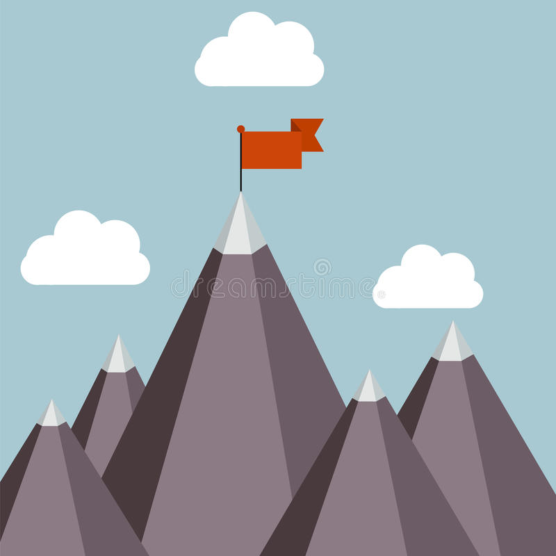 Success vector illustration - top of the mountain. With red flag royalty free illustration