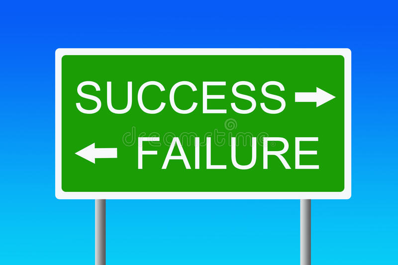 Success versus failure. Taking the road to success or to failure vector illustration
