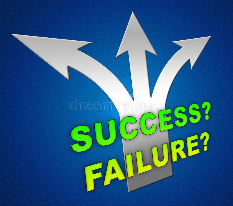 Success Versus Failure Arrows Depicting Improvement And Progress Against Crisis - 3d Illustration royalty free illustration