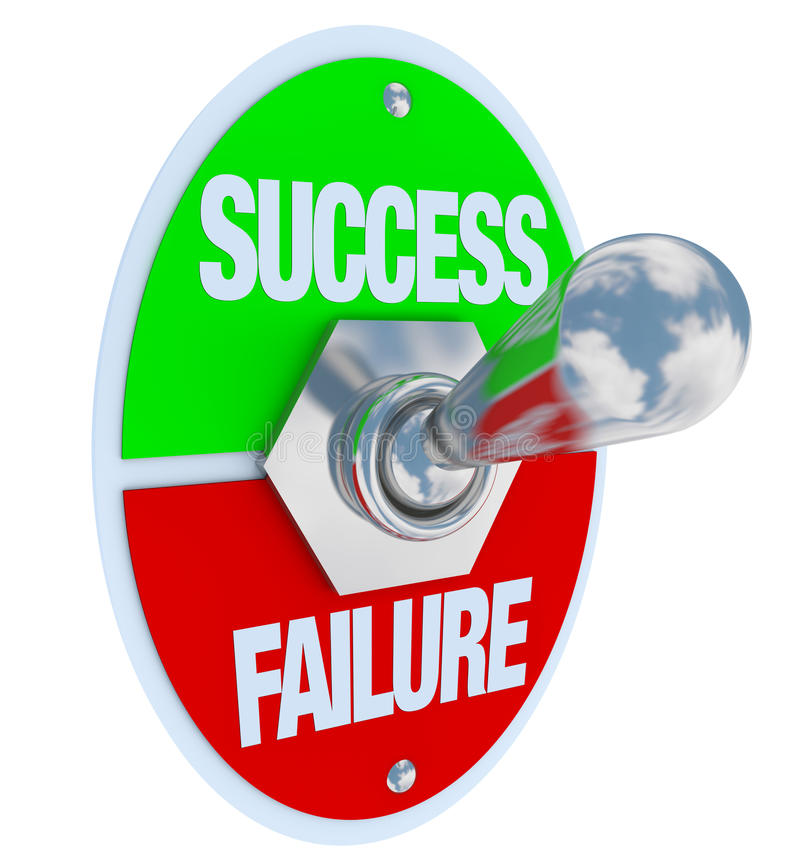 Success vs Failure - Toggle Switch. A metal toggle switch with plate reading Success and Failure, flipped in the Success position, symbolizing the decision to stock illustration