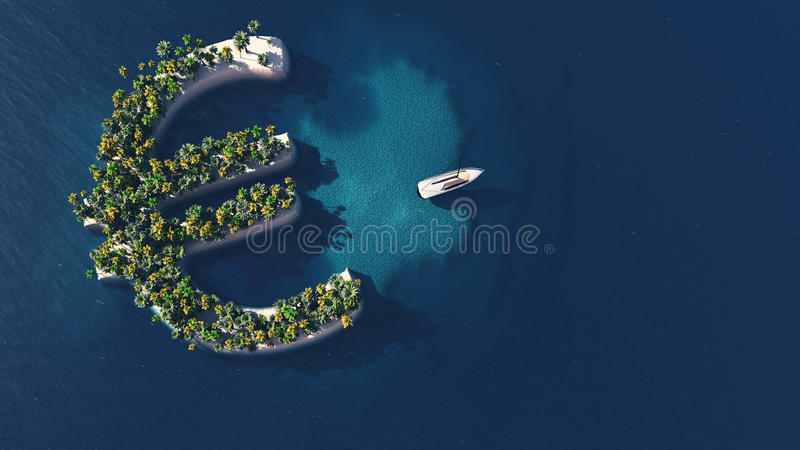 Success way. Tropical island in the form of Euro vector illustration
