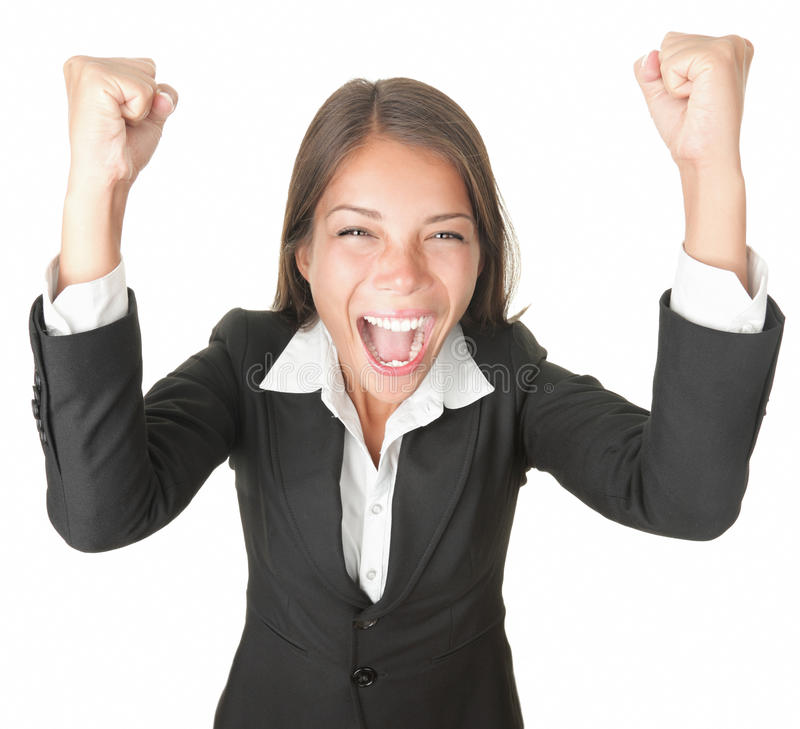 Success / Winner Business Woman Isolated Royalty Free Stock Photo