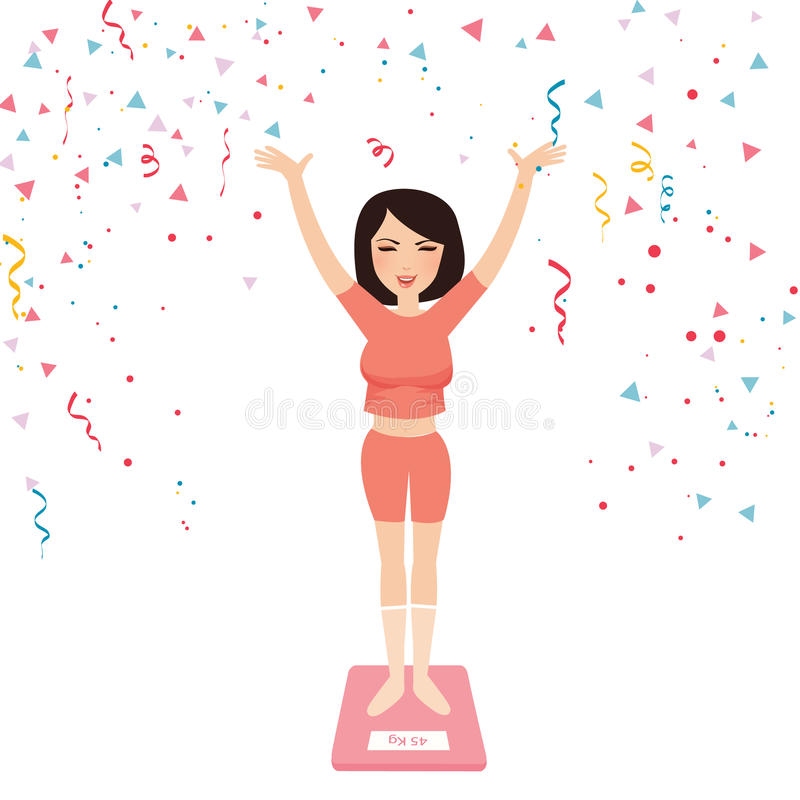 Happy Girl On Weight Scale Stock Vector  Illustration Of