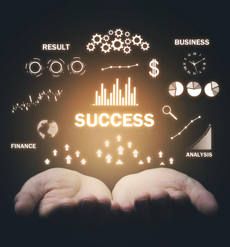 Success word with a charts. Business concept stock photos