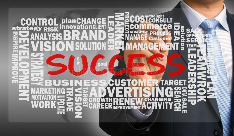 Success word cloud handwritten by businessman stock photos