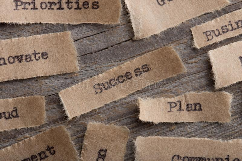Success word on a piece of paper close up, business creative motivation concept. Success - word on a piece of paper close up, business creative motivation stock photo