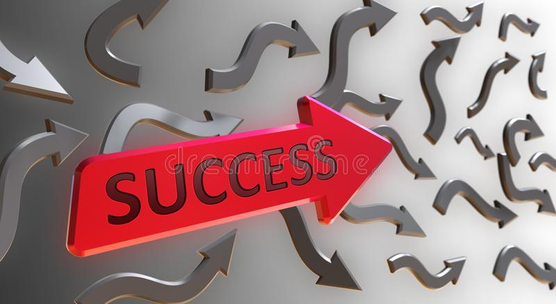 Success Word On Red Arrow. Indicate the Direction With Gray Arrows on Gray Background stock illustration