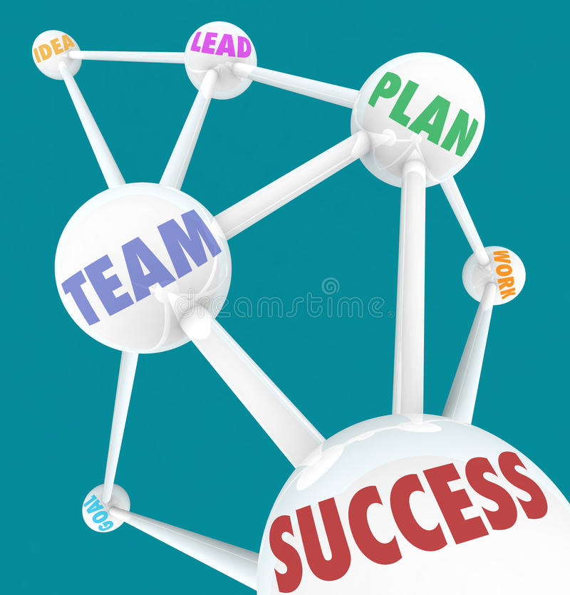 Success Words - Connected Spheres. Several connected spheres each featuring words like Success, Team, Lead and Goal stock illustration