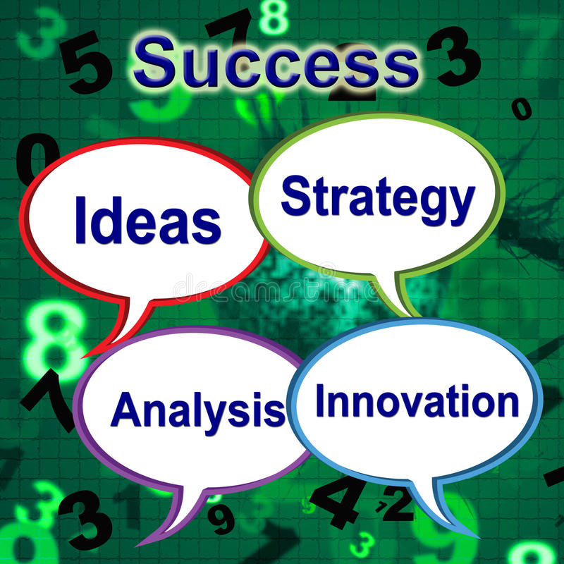 Success Words Indicates Thoughts Victory And Idea royalty free illustration