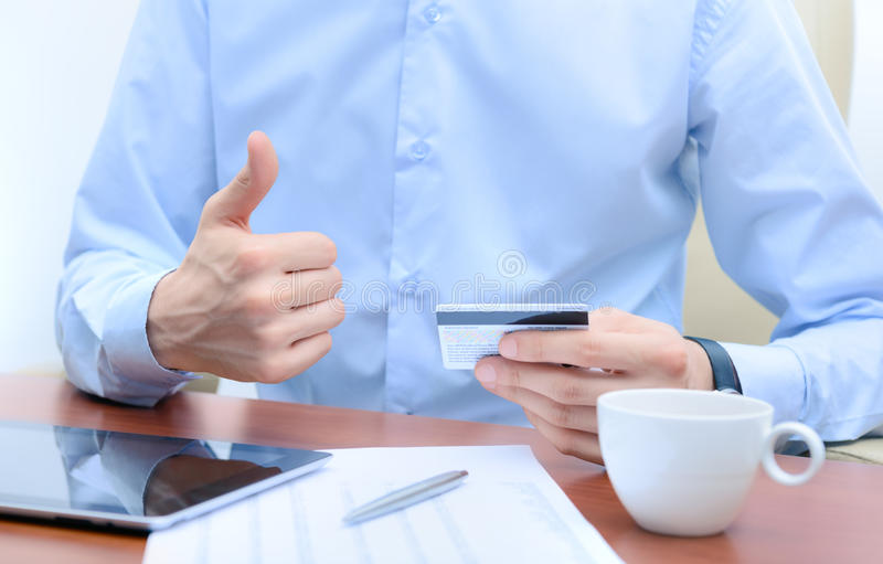 Success working with credit card stock photography