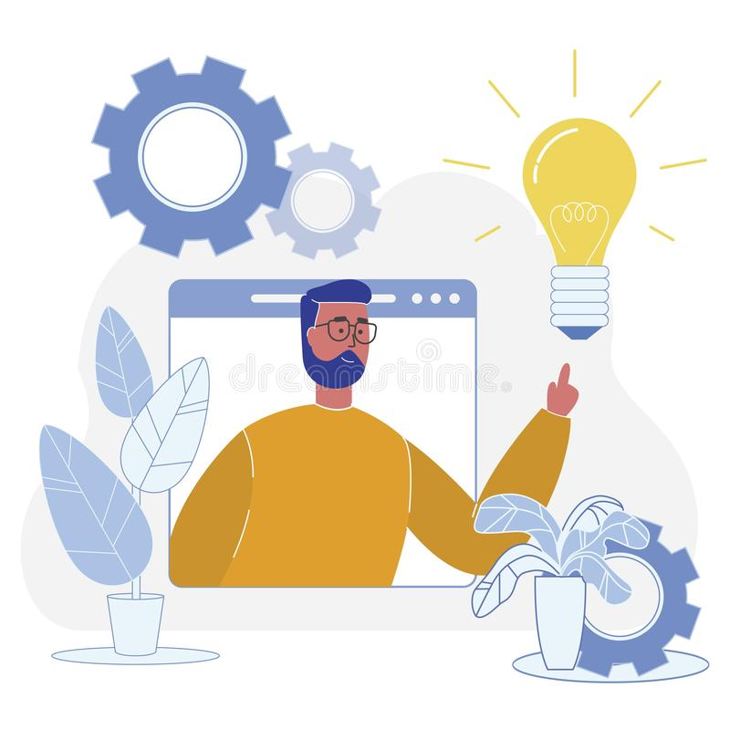 Successful Adaptation New Idea to Final Product. Flat Vector Illustration on White Background. Male Creative Manager Touches Burning Incandescent Lamp. Startup vector illustration