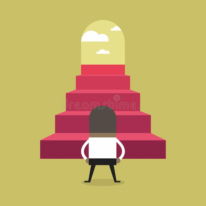 Successful African businessman climbing steps. royalty free illustration