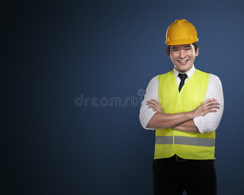 Successful asian business person. Image of successful asian business person over blue background stock photos
