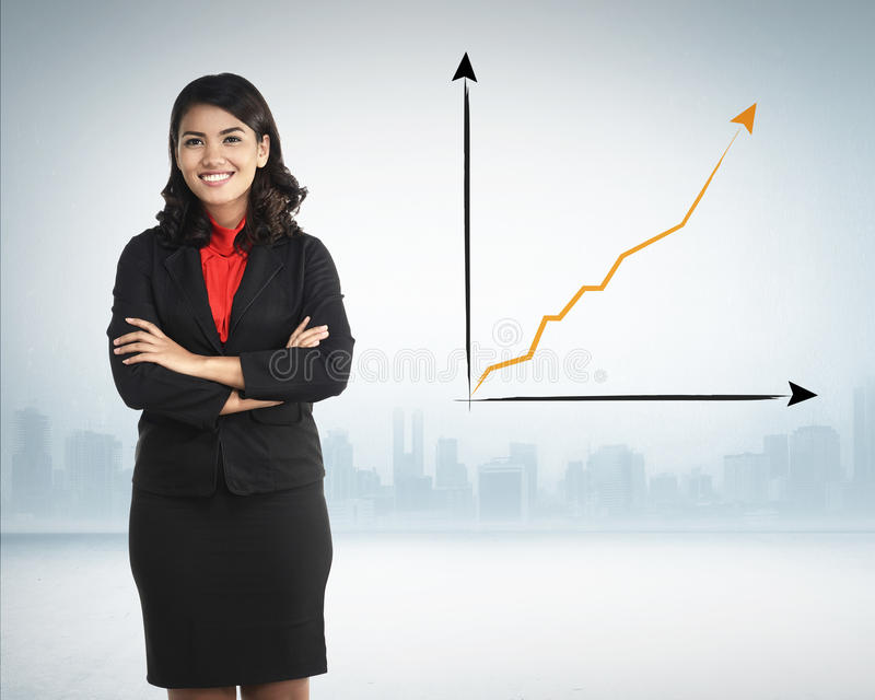 Successful Asian Business Woman. Over increasing sales chart on the background royalty free stock photography