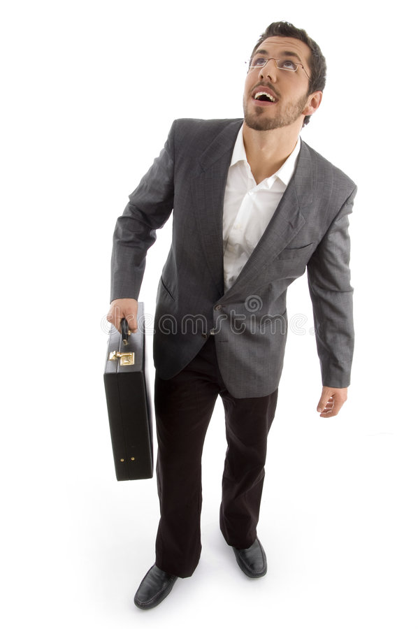Successful attorney holding office bag stock images