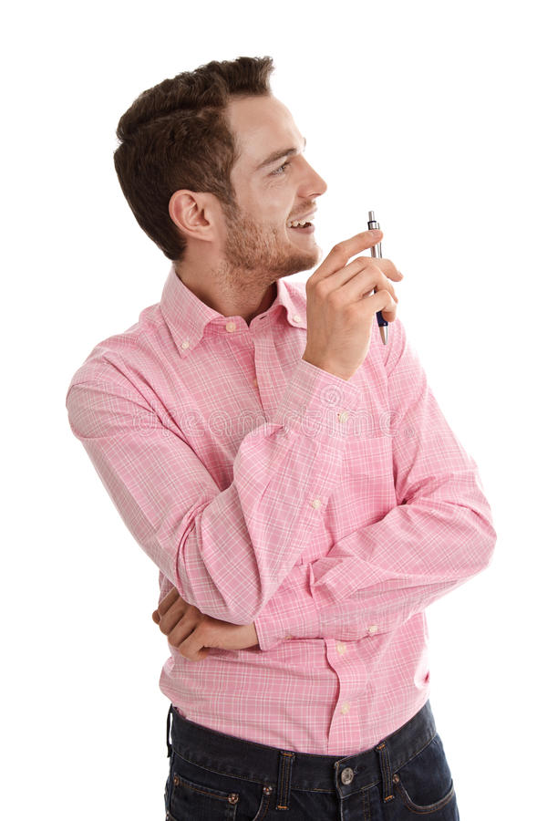 Download Successful Attractive Young Man In Pink Looking Sideways Holding Stock Image - Image: 34717561