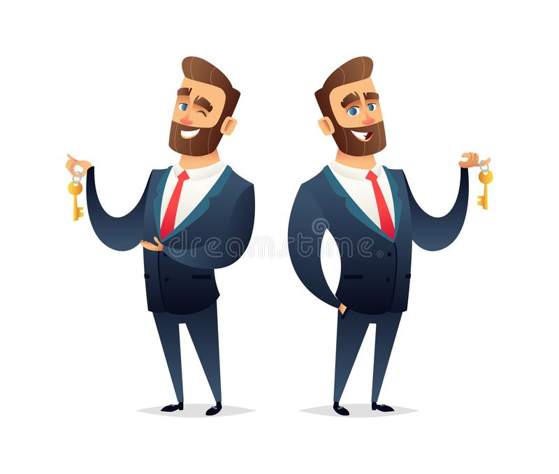 Successful beard businessman character hold a key of car, house or apartment. Business concept illustration.  stock illustration