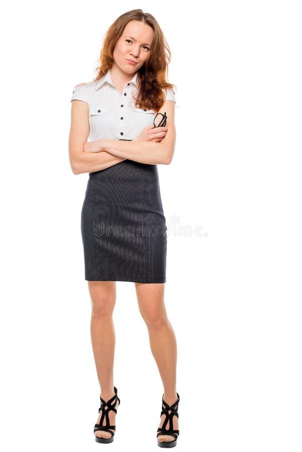 Successful Beautiful businesswoman on white background stock photo