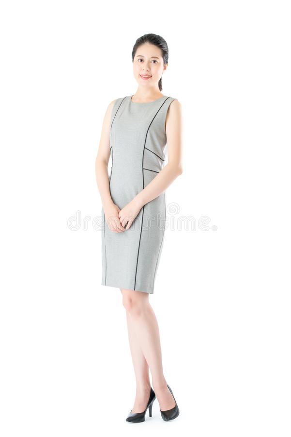 Successful beautiful confident asian business woman standing stock image