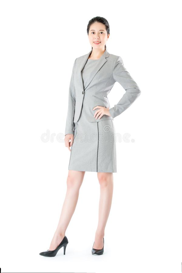 Successful beautiful confident asian business woman standing royalty free stock image