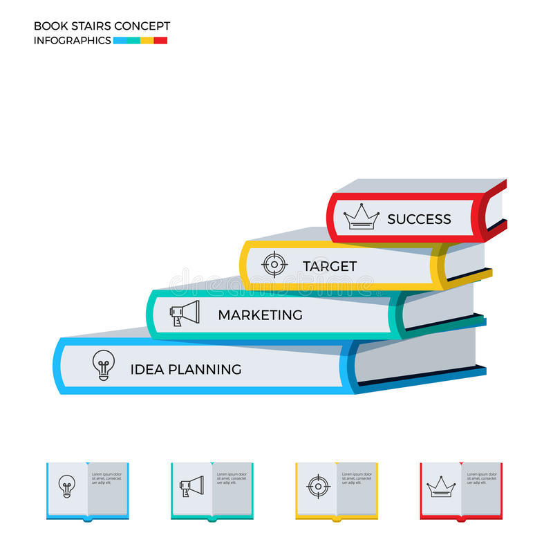 Successful book stairs infographics template. Stairs step made of books to success. royalty free illustration