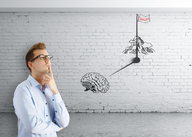 Successful brainstorming session. Thoughtful european man in white brick room with abstract clock, brain and mountain top sketch. Successful brainstorming vector illustration