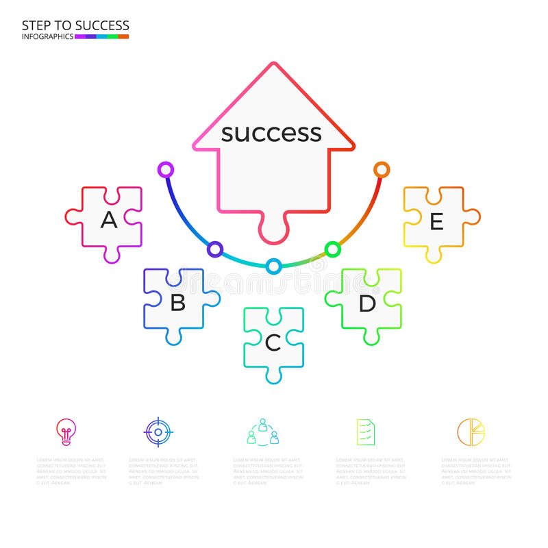 Successful business concept arrow puzzle infographic template. Infographics with icons and elements. Can be used for workflow layout, diagram web design royalty free illustration