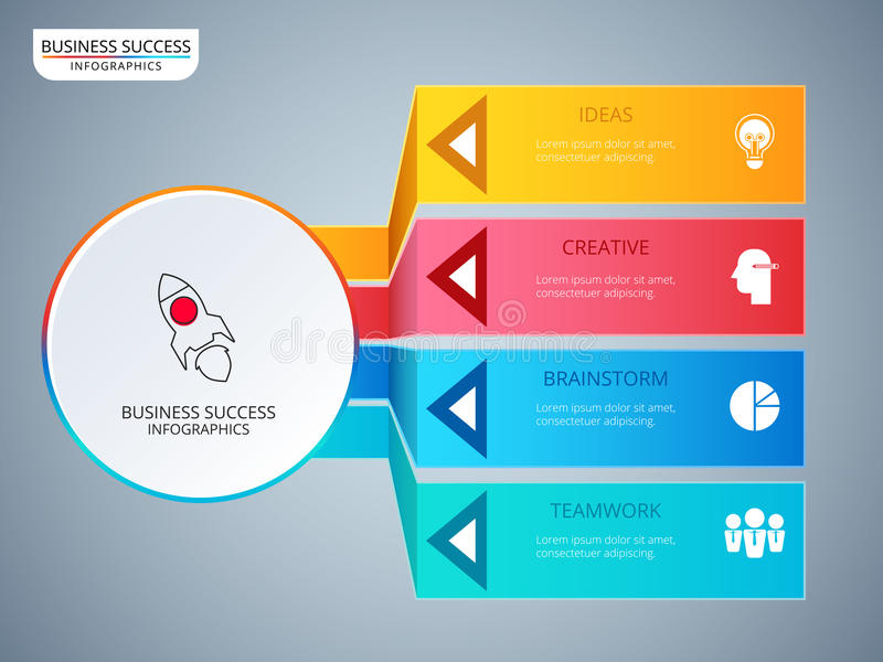 Successful business concept circle infographic template. Infographics with icons and elements. Can be used for workflow layout, diagram web design stock illustration