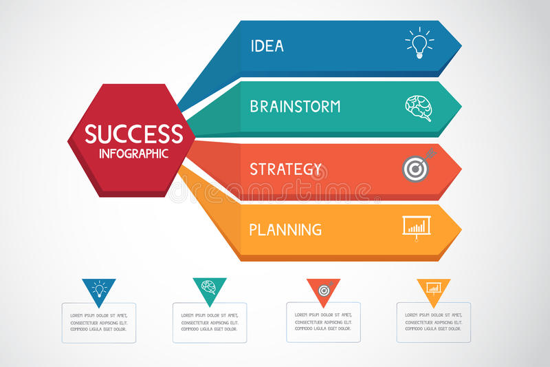 Successful business concept infographic template. Can be used for workflow layout, diagram web design, infographics. vector illustration