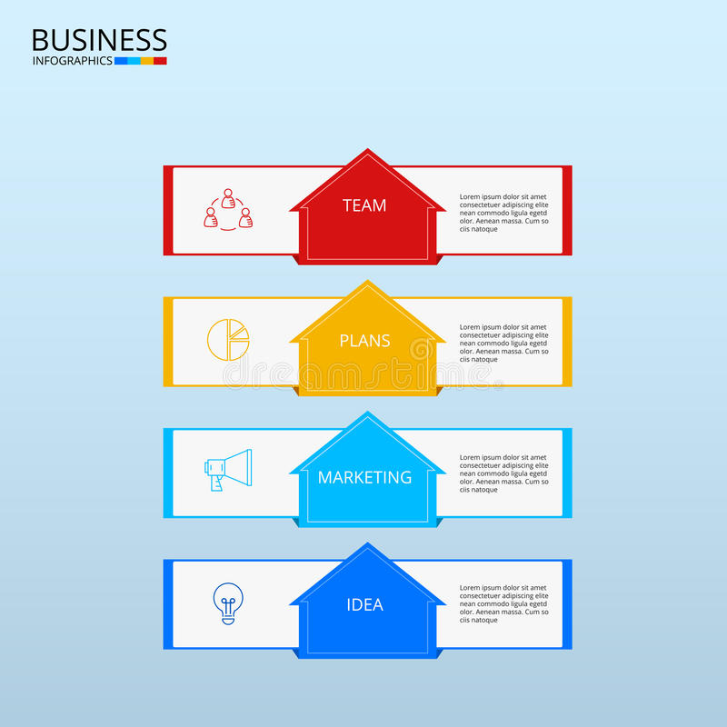Successful business concept infographic template. Infographics with icons and elements. Can be used for workflow layout, diagram. Web design, infographics stock illustration