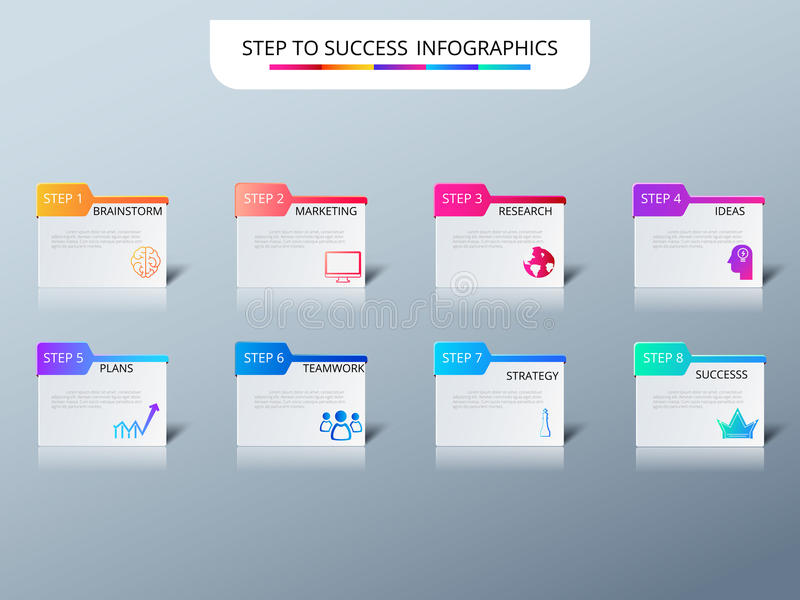 Successful business concept infographic template. Infographics with icons and elements. vector illustration