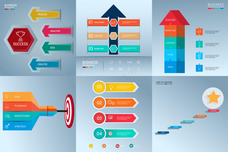 Successful business concept infographic template set. Infographics with icons and elements. Can be used for workflow layout, royalty free illustration