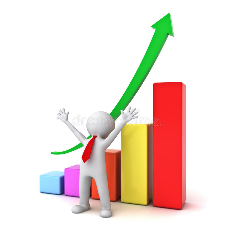 Successful business 3d man standing with arms wide open in front of growth business graph royalty free illustration