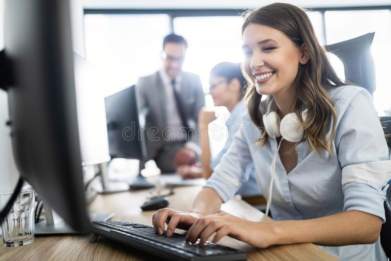 Successful business group of people at work in office stock photos
