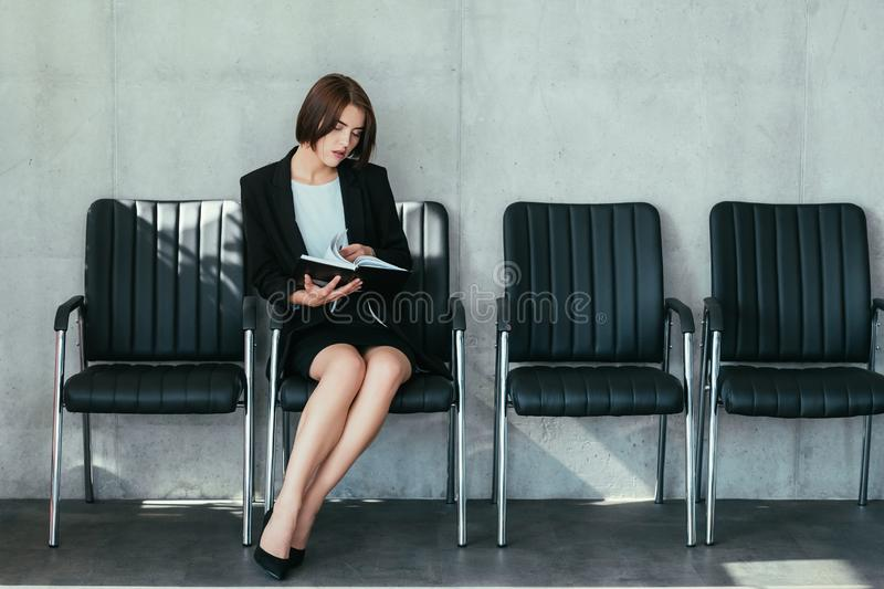 Successful business lady career achievements. Successful business lady. Career achievements. Confident young woman in formal outfit. Leadership in corporate royalty free stock photo