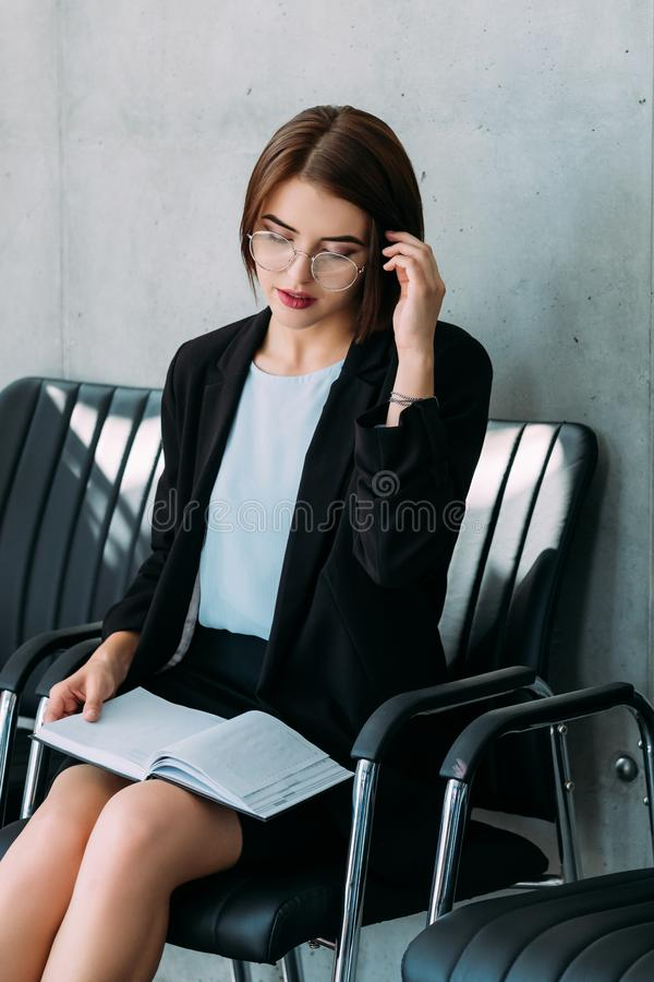 Successful business lady power career growth. Successful confident business lady. Career growth and personal development. Woman power in corporate world stock image
