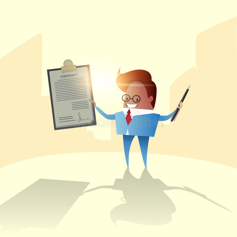 Successful Business Man Hold Contract Sign Document Folder. Flat Vector Illustration royalty free illustration