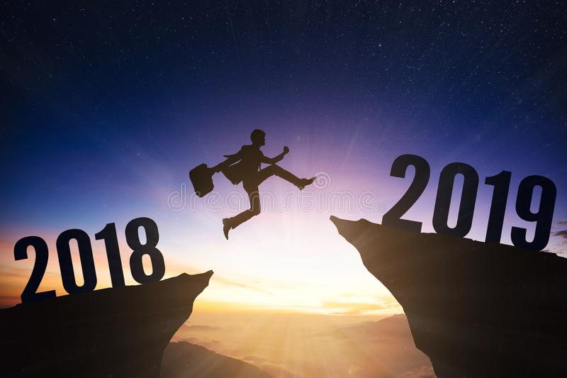 business man with 2019 new year concept stock photo