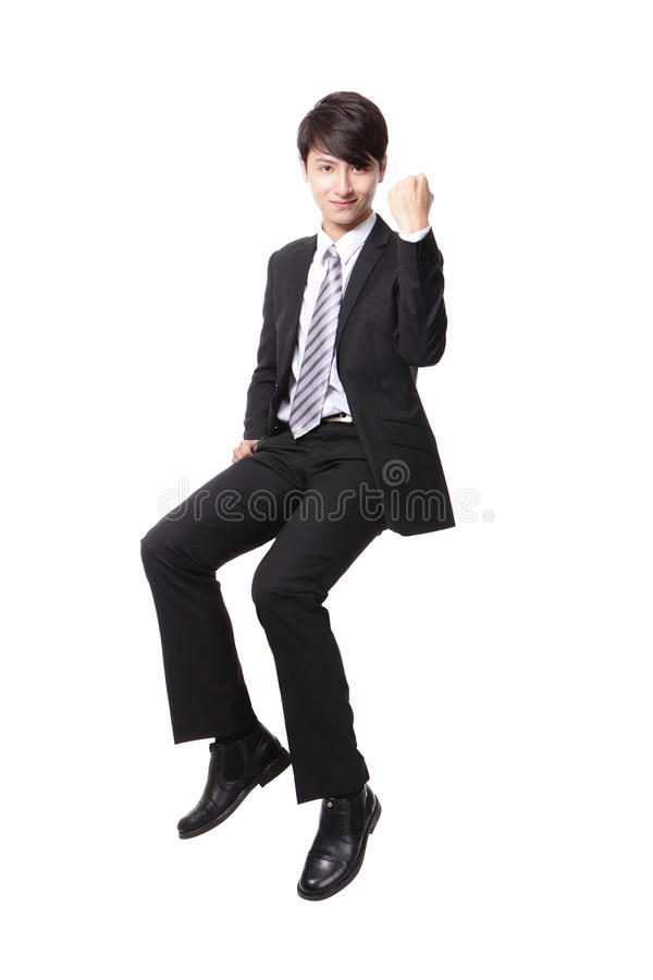 Download Successful Business Man Sitting On Something Stock Photo - Image: 31422094