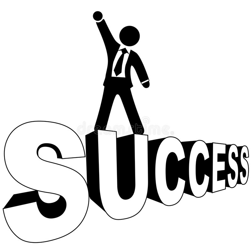 Download Successful Business Man On SUCCESS Black And White Stock Vector - Image: 7088252