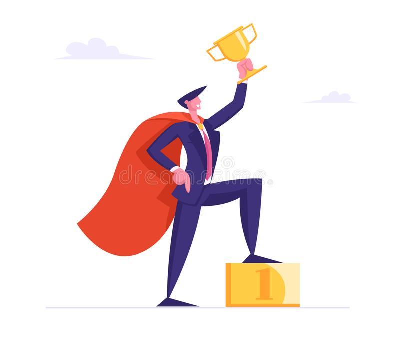 Successful Business Man in Super Hero Cape Hold Gold Goblet Stand on Golden Podium with Number One, Goal Achievement vector illustration