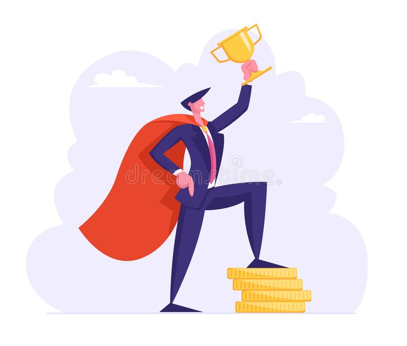 Successful Business Man in Super Hero Cape Hold Golden Cup Stand on Stack of Gold Coins, Character with Money. Profit vector illustration