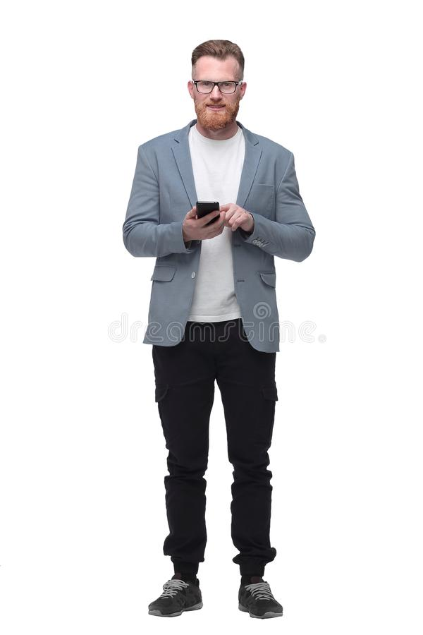 Successful business man talking on smartphone . isolated on white royalty free stock photography