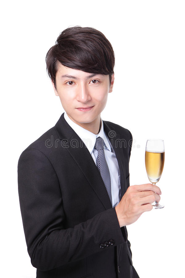 Successful business man toasting with Champagne stock images
