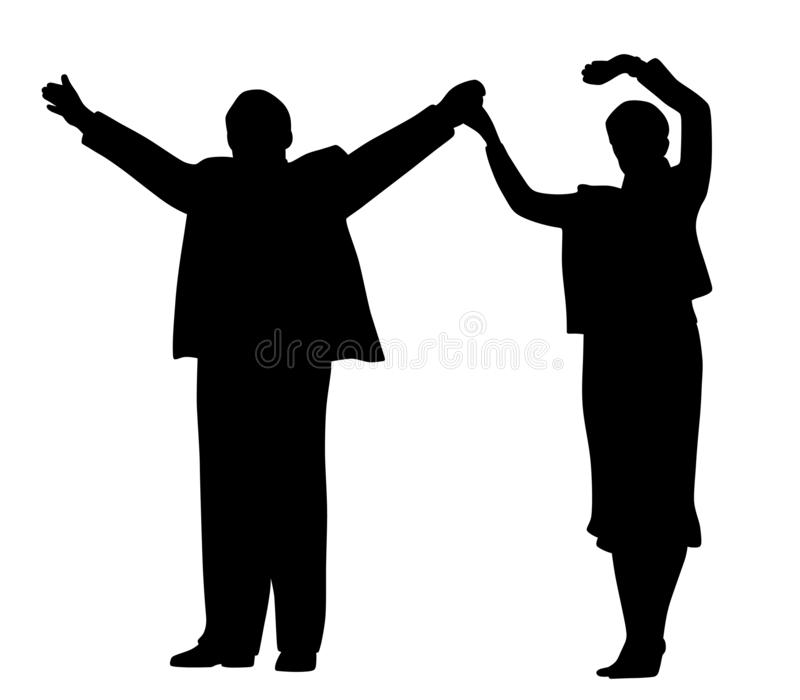 Successful business partners or leader politicians waving raised hands and greeting people vector illustration