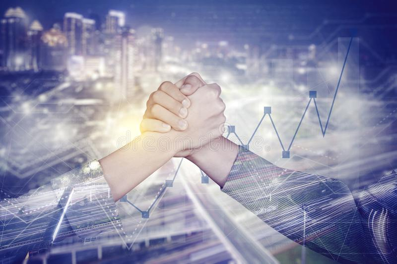 Successful business people with double exposure stock image