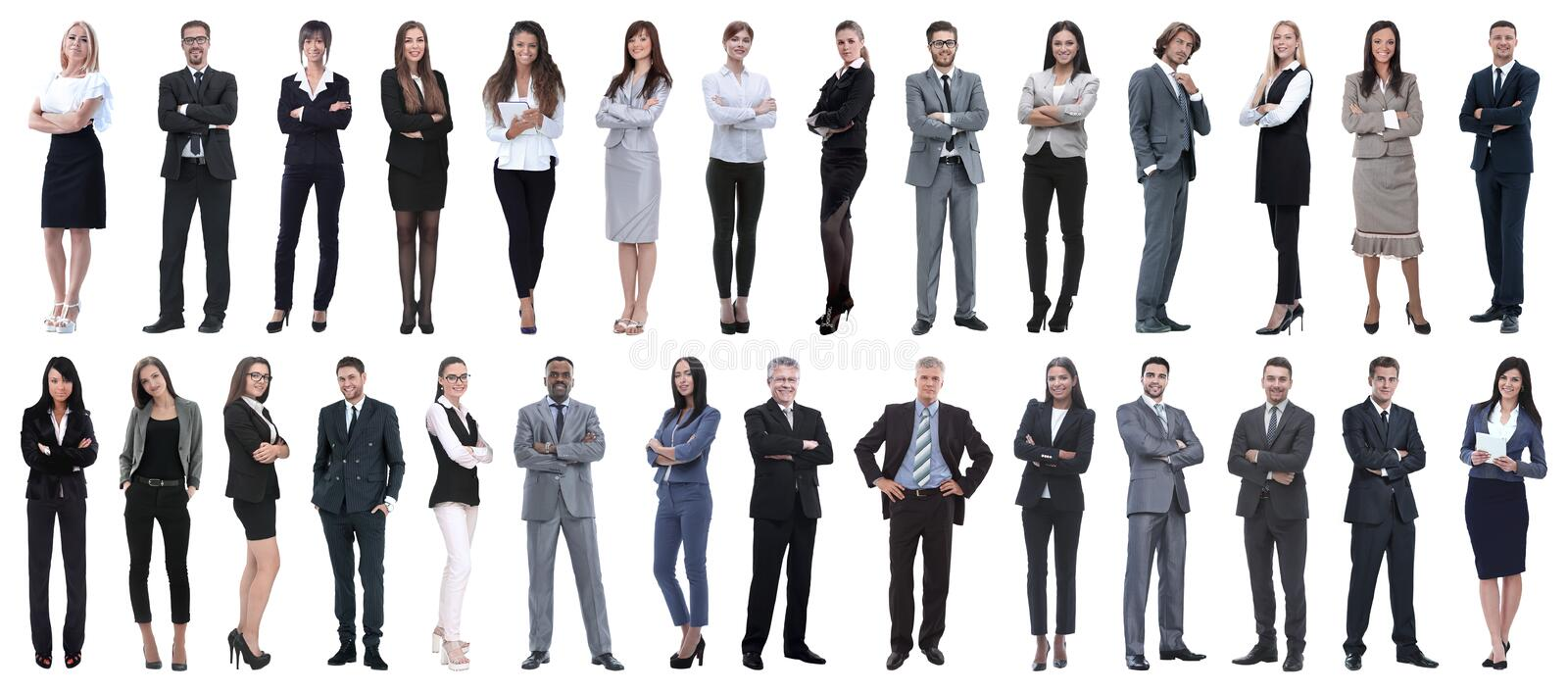 Successful business people isolated on white background stock images
