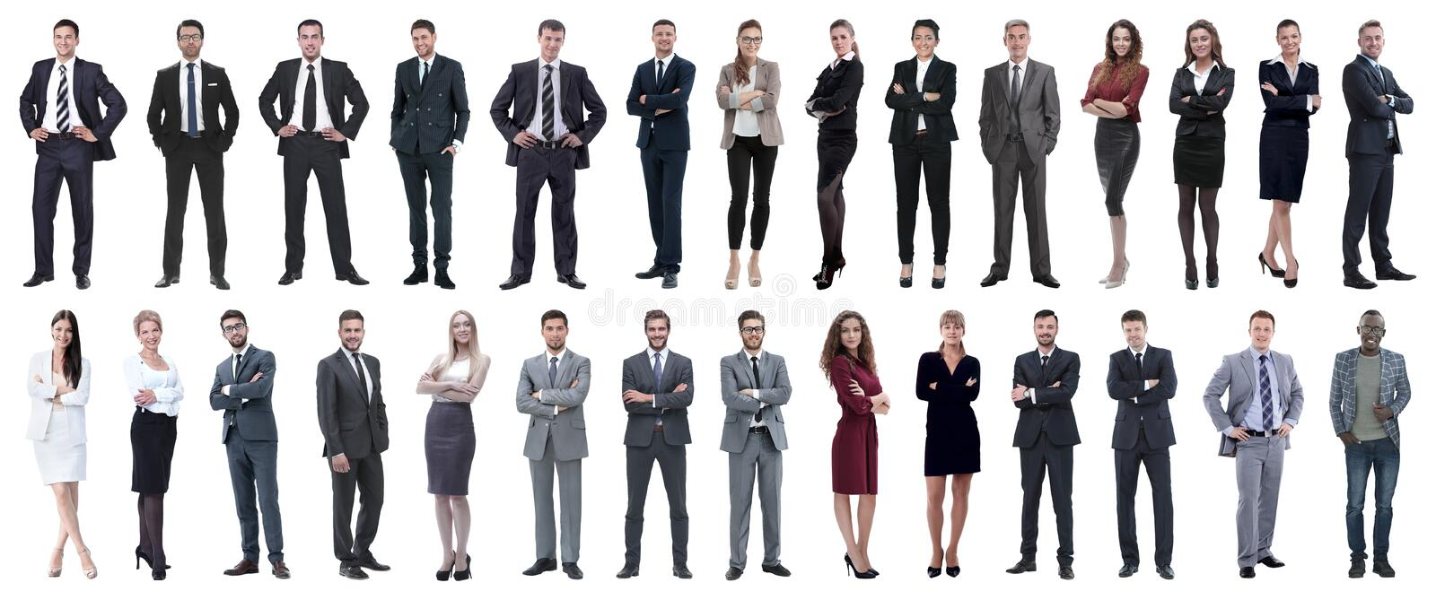Successful business people isolated on white background. Photo collage royalty free stock photography