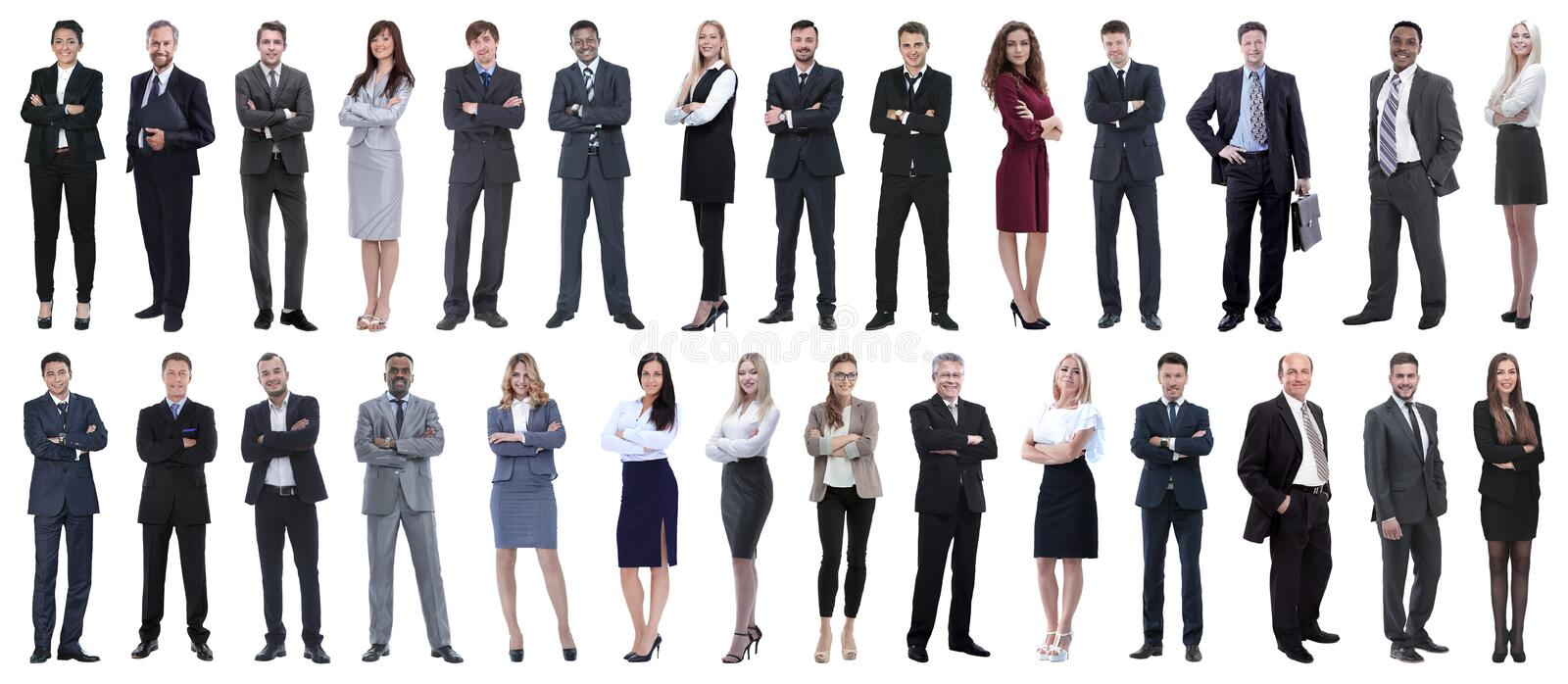 Successful business people isolated on white background. Photo collage royalty free stock photos